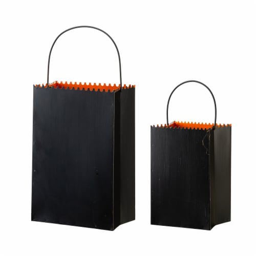 Glitzhome Halloween Metal Trick or Treat Buckets Perspective: back