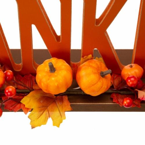 Glitzhome Thankful Orange Wooden Table Decor Perspective: back