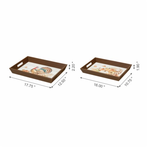 Glitzhome Wooden Turkey Serving Tray Perspective: back