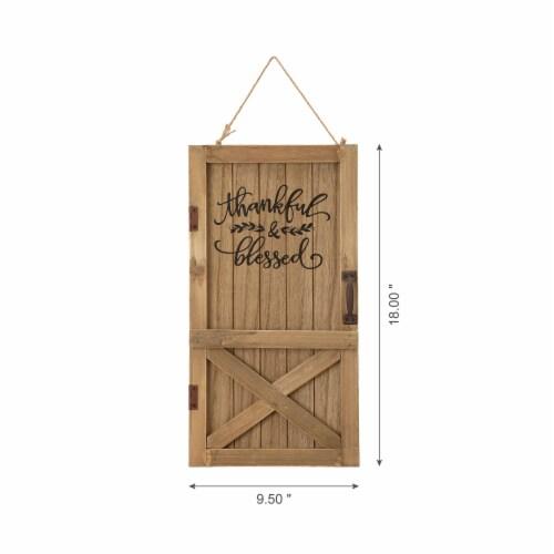Glitzhome Natural Wooden Barn Door Decor Perspective: back