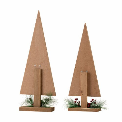 Glitzhome Wooden Christmas Tree Décor with Floral Perspective: back