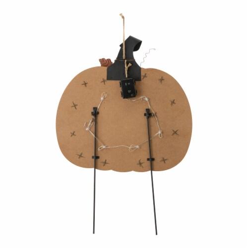 Glitzhome Halloween Wooden & Metal Pumpkin Yard Stake Decor Perspective: back