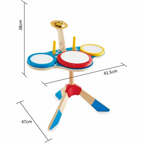 Hape Drum and Cymbal Instrument Play Set w/ 2 Drum Sticks for Kids Ages 3 and Up Perspective: back