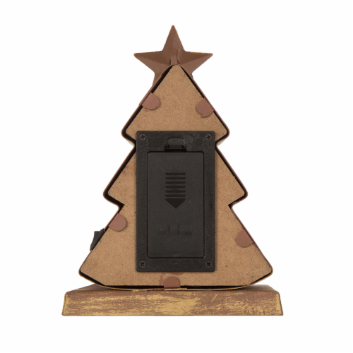 Glitzhome Wood and Metal Christmas Tree Stocking Holder with LED Lights Perspective: back