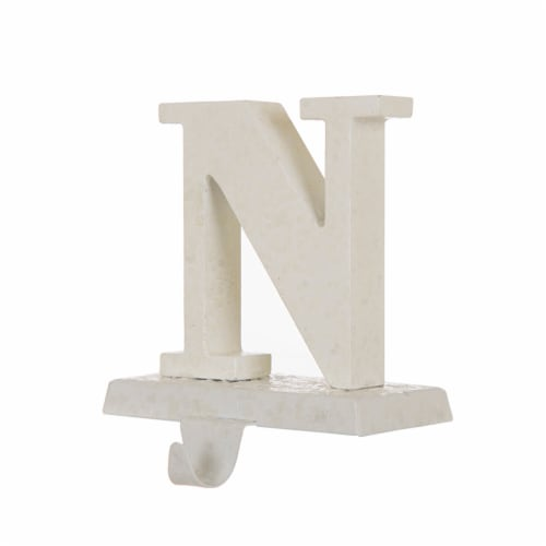 Glitzhome Wood and Metal Noel Christmas Stocking Holder Set Perspective: back
