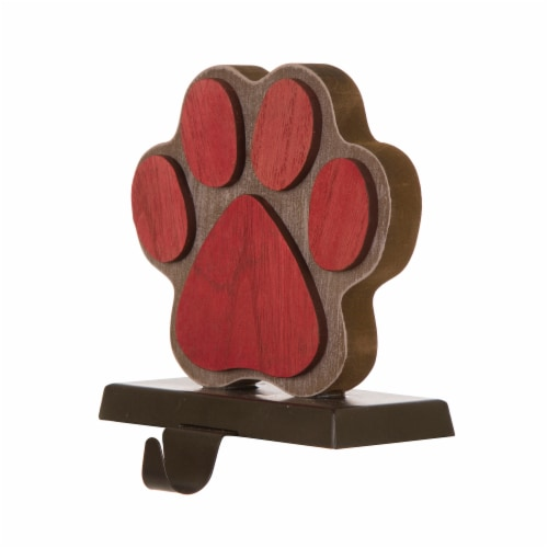 Glitzhome Handcrafted Paw Christmas Stocking Holder - Red Perspective: back