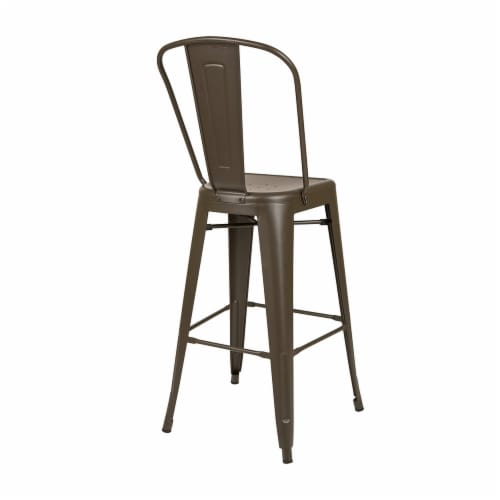 Glitzhome Rustic Steel Backrest Bar Stools with High Back - Set of 2 - Coffee Perspective: back