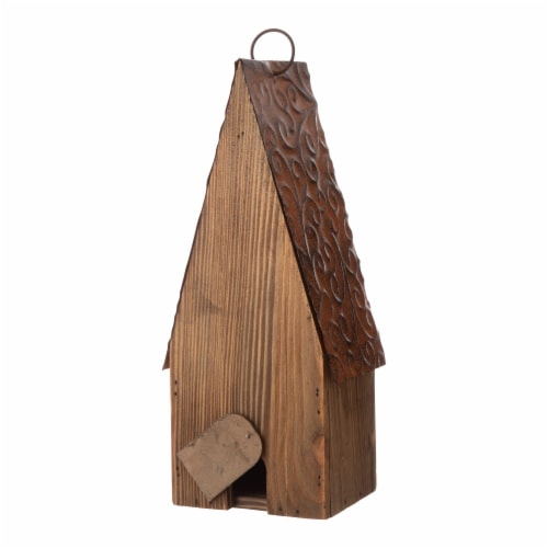 Glitzhome Wood and Metal Rustic Bird House Perspective: back
