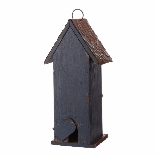 Glitzhome Solid Wood & Metal Rustic Style Birdhouse Perspective: back