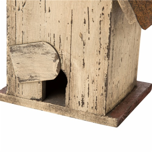 Glitzhome Distressed Wooden Decorative Birdhouse Perspective: back