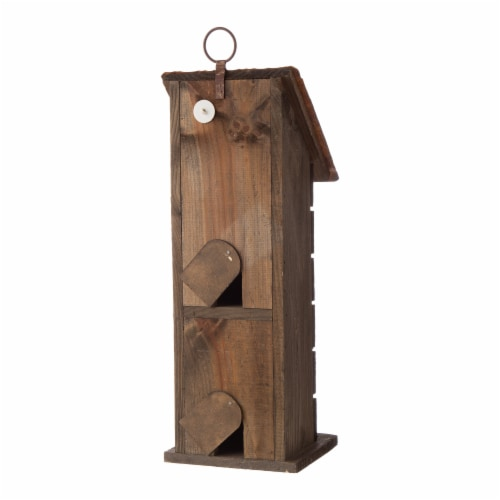 Glitzhome Hanging Two-Tiered Distressed Wooden Birdhouse Perspective: back