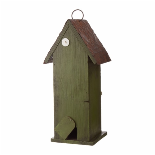 Glitzhome Hanging Two-Tiered Distressed Solid Wood Birdhouse Perspective: back