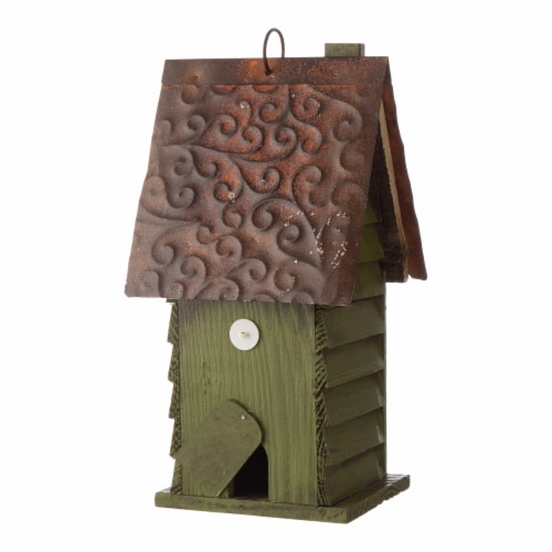 Glitzhome Distressed Solid Wood & Metal Birdhouse Perspective: back