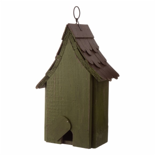 Glitzhome Hanging Distressed Wooden Birdhouse Perspective: back