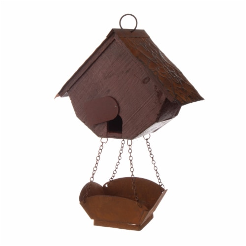 Glitzhome Hanging Distressed Solid Wood Birdhouse with Bird Bath Perspective: back
