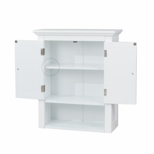 Glitzhome Wooden Wall Cabinet with Double Doors - White Perspective: back