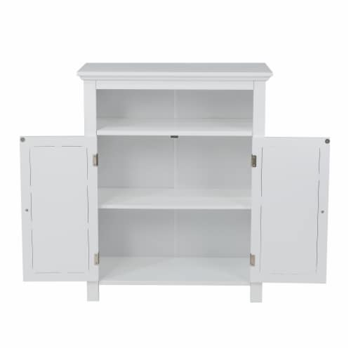 Glitzhome Shelved Floor Cabinet with Double Shutter-Door - White Perspective: back