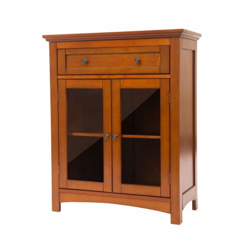 Glitzhome Shelved Floor Cabinet with Double Doors - Russet Perspective: back