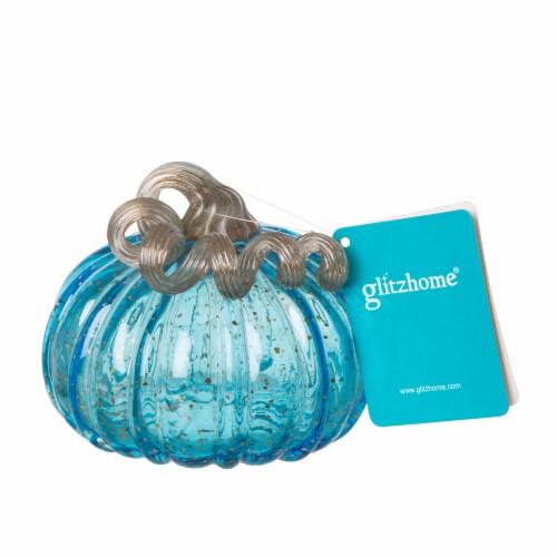 Glitzhome Handmade Glass Pumpkin - Small - Blue Perspective: back