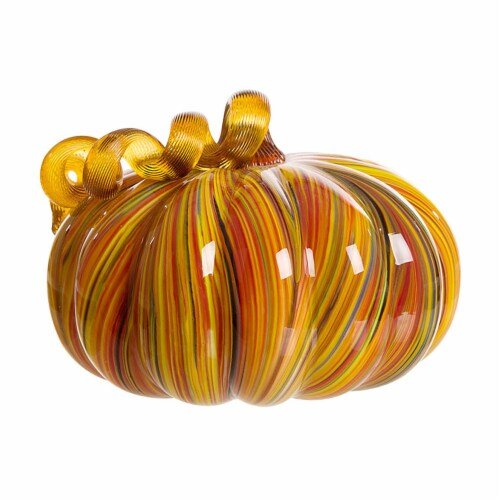 Glitzhome Glass Pumpkin - Large - Multi Striped Perspective: back