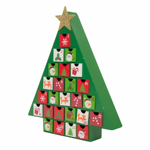 Glitzhome Wooden Christmas Tree Advent Calendar with Drawers Perspective: back