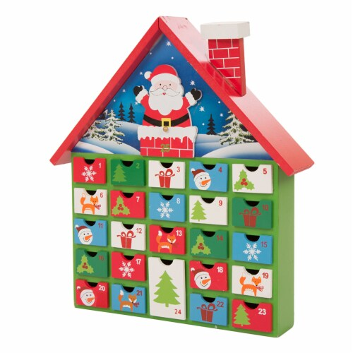 Glitzhome Wooden House Advent Calendar with Drawers Perspective: back