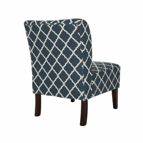 Glitzhome Lattice Upholstered Accent Chair with Sturdy Hardwood Frame - Indigo Perspective: back