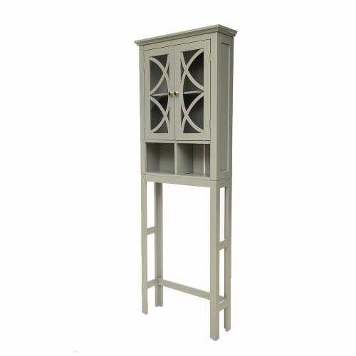 Glitzhome Wooden Drop Door Bathroom Cabinet - Gray Perspective: back