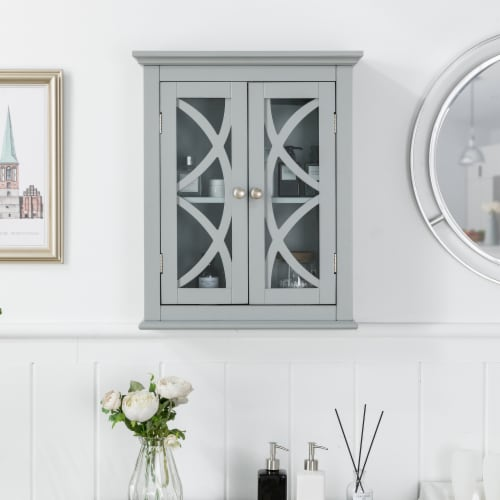 Glitzhome Wooden Wall Cabinet with Double Doors - Gray Perspective: back