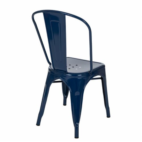 Glitzhome Rustic Metal Side Chair - Navy Blue Perspective: back
