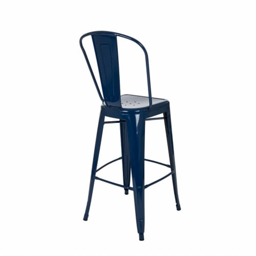 Glitzhome Industrial Style Metal Bar Stools - Set of 2 - Navy Blue Perspective: back