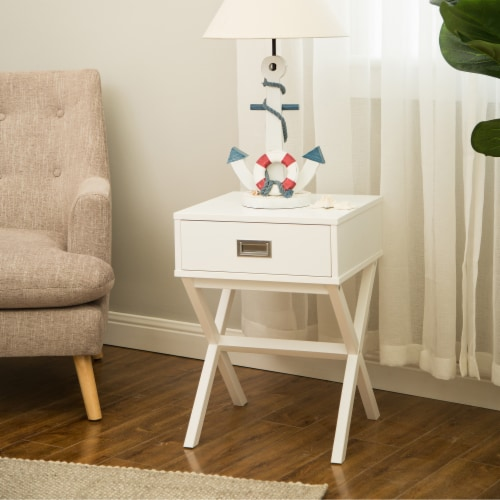 Glitzhome Modern Wooden X-Leg End Table - White Perspective: back