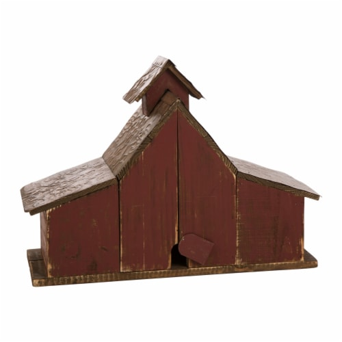 Glitzhome Extra-Large Rustic Wood Barn Birdhouse Perspective: back