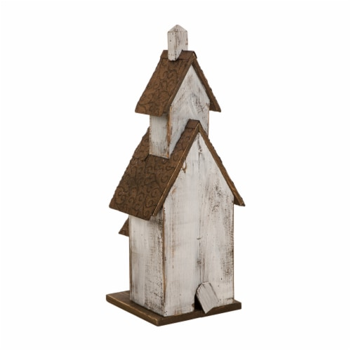 Glitzhome Extra-Large Rustic Wooden Outdoor Garden Birdhouse - White/Brown Perspective: back