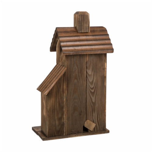 Glitzhome Extra-Large Rustic Natural Wood & Metal Birdhouse Perspective: back