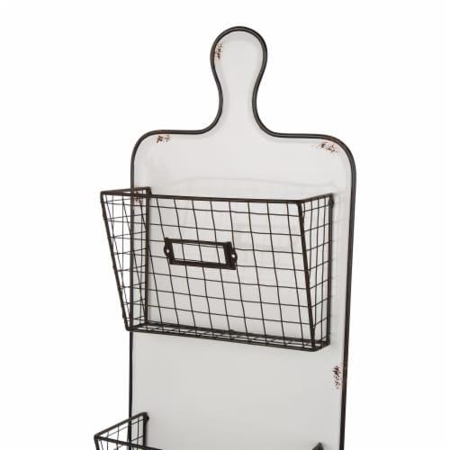 Glitzhome Farmhouse Metal/Enamel Three-tier Wall Pocket Perspective: back