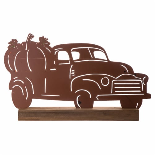 Glitzhome Wooden/Metal Rusty Truck Porch Table Decoration Perspective: back