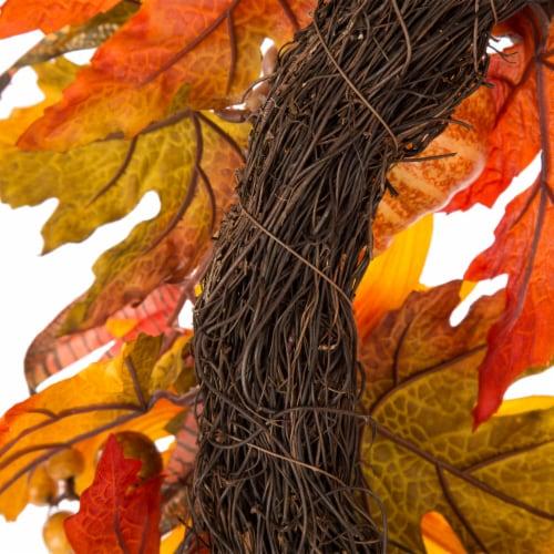 Glitzhome Sunflower Pumpkins & Pinecones Wreath Perspective: back