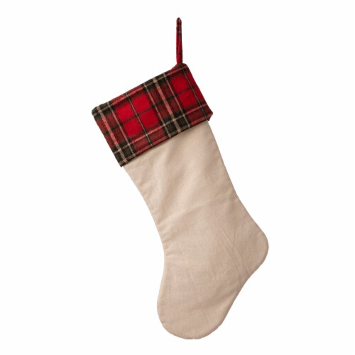 Glitzhome Embroidered Linen Red Truck Christmas Stocking Perspective: back