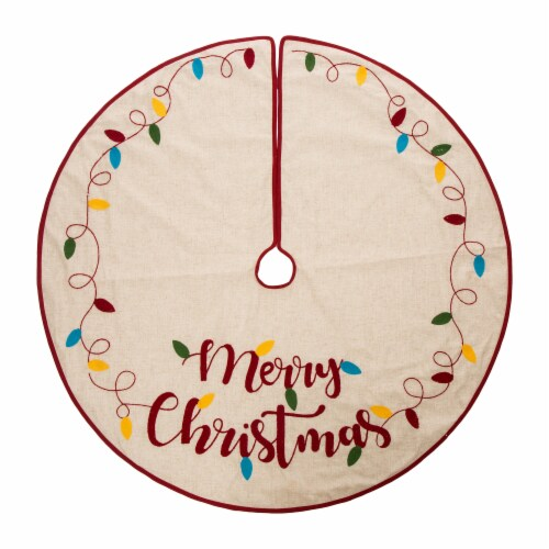 Glitzhome LED Embroidered Merry Christmas Tree Skirt - Light Brown Perspective: back