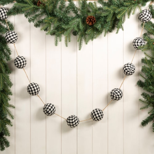 Glitzhome Plaid Fabric Garland Christmas Decor - Black/White Perspective: back