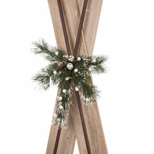 Glitzhome Wood and Galvanized Metal Ski Decoration Perspective: back