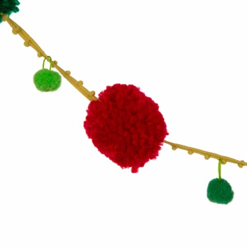 Glitzhome Acrylic Pompom Garland Christmas Decor Perspective: back