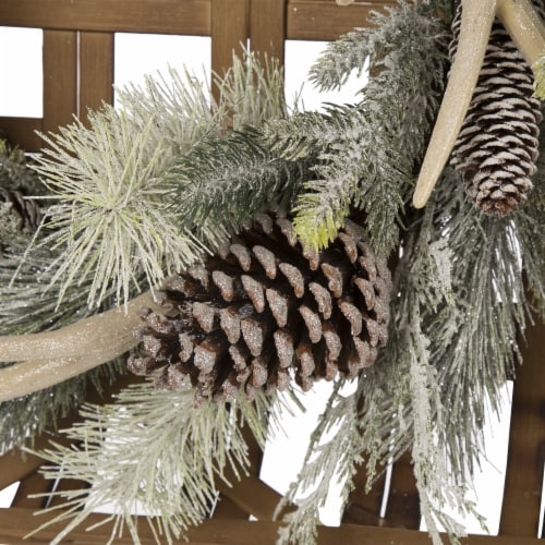 Glitzhome Bamboo Tobacco Basket with Flocked Pinecone & Antler Wreath - Green Perspective: back