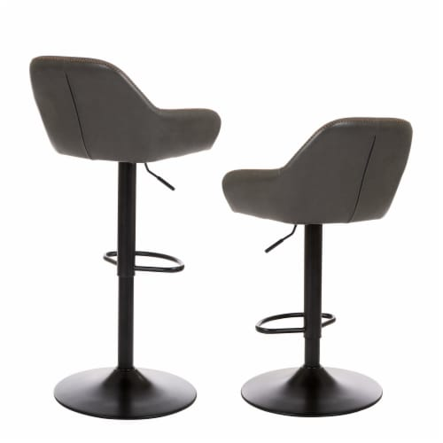 Glitzhome Mid-Century Leatherette Gaslift Adjustable Swivel Bar Stools - Modern Gray Perspective: back