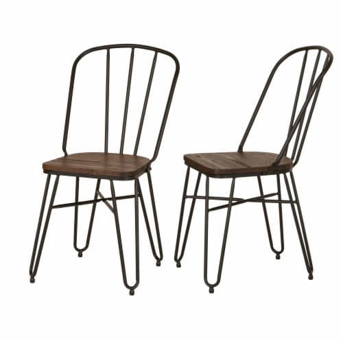 Glitzhome Industrial Steel Dining Chairs with Elm Wood Seat Perspective: back