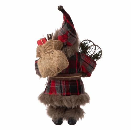 Glitzhome Faux Fur Plaid Santa Figurine Christmas Decor Perspective: back