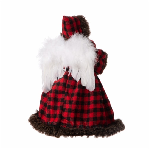 Glitzhome Plaid Angel Figurine Tree Topper Christmas Decor Perspective: back