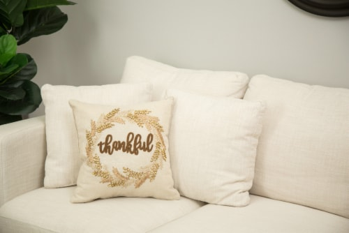 Glitzhome Embroidered Thankful Pillow Perspective: back