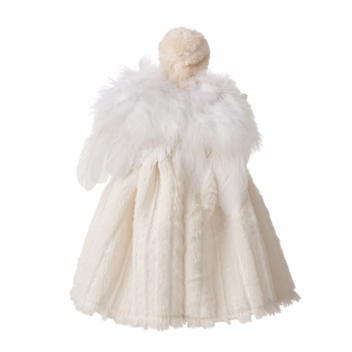 Glitzhome Faux Fur 3D Standing Angel Figurine Tree Topper - Beige Perspective: back